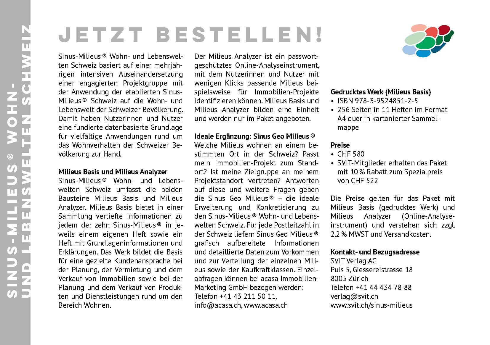 Wohn- und Lebenswelten in der Schweiz herausgegeben von acasa & SVIT Verlag