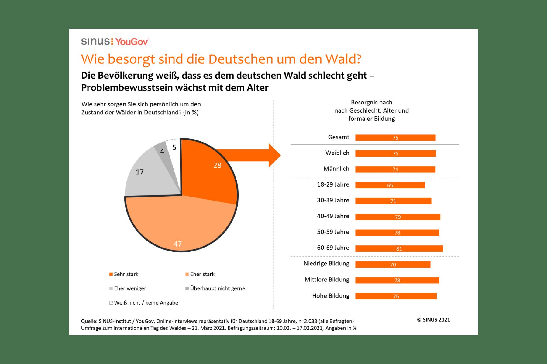 Grafik: Wie besorgt sind die Deutschen um den Wald?